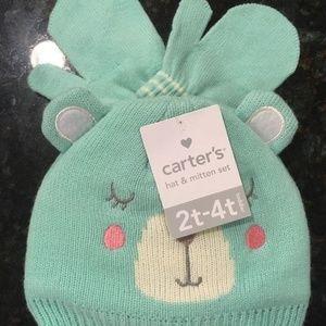 Carter's Girl Blue Bear Face Hat & Mitten Set